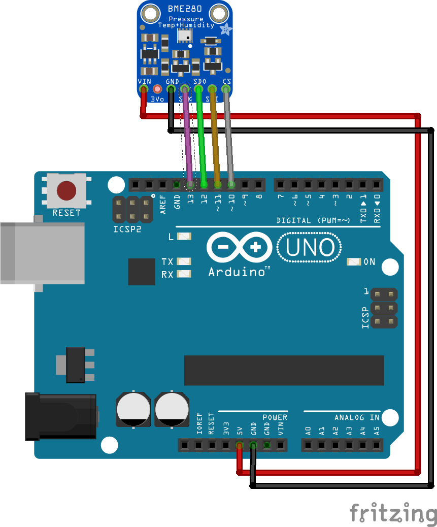 Arduino_UNO_BME280 using bme280 sensor for humidity, barometric pressure and  at mr168.co